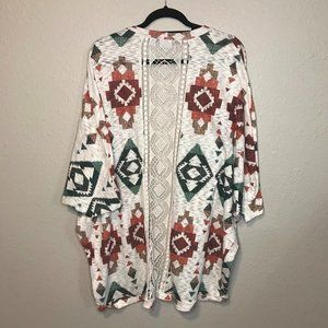 CATO Aztec Style Print Open Embroidered Back Shrug